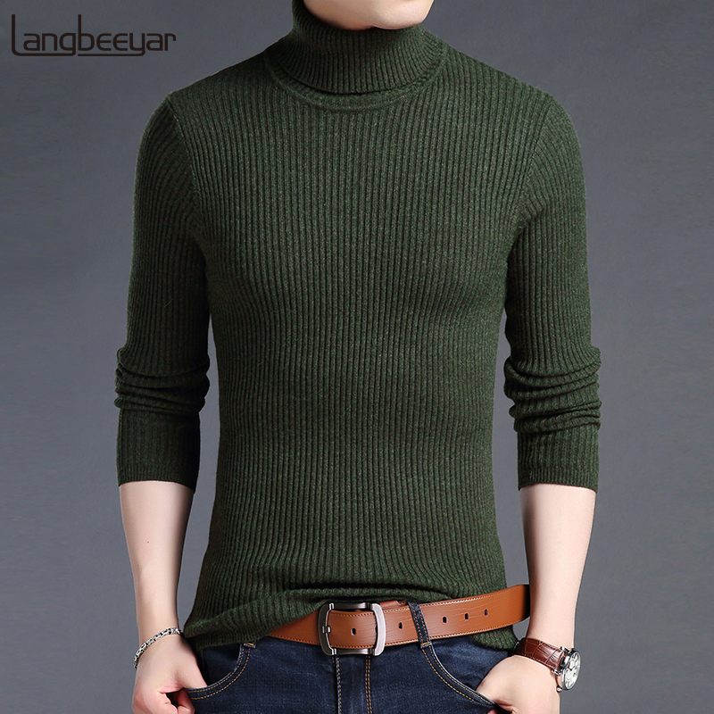 2019 New Fashion Brand Sweater For Mens Pullovers Turtleneck Slim Fit Jumpers Knit Woole Warm Korean Style Casual Clothing Men