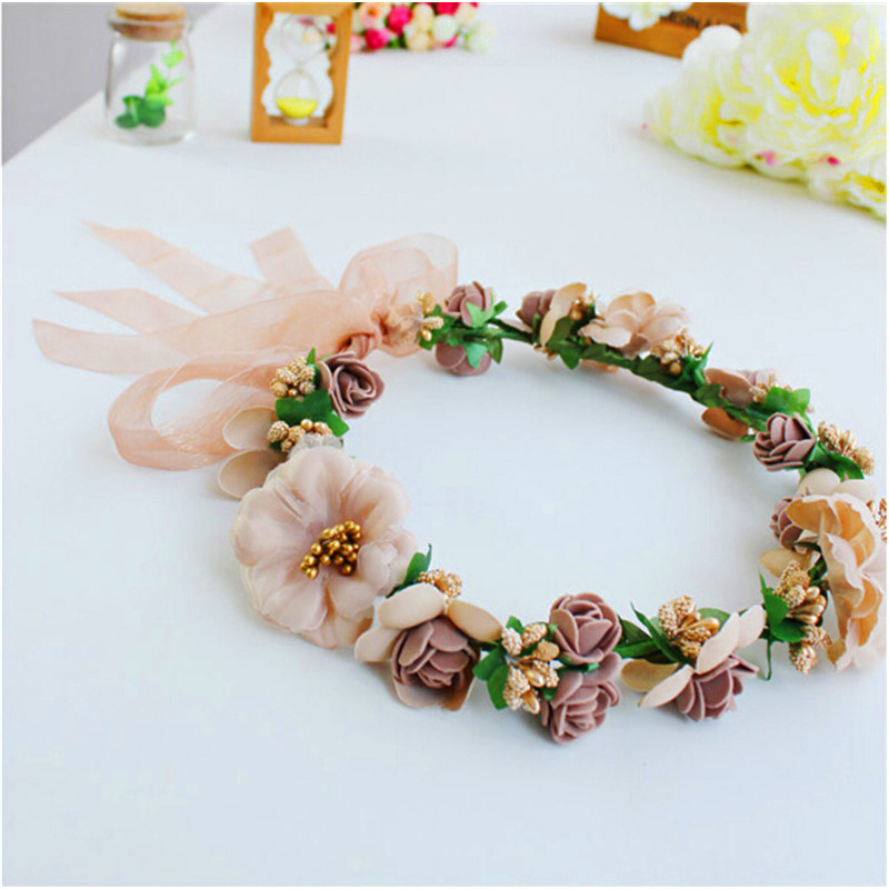fashion Flower Headpiece Wedding Bridal Hair Accessories Floral Crown  Bohemia Halo Flower Crown Pink Artifical Flower Crown 77046f47fa6