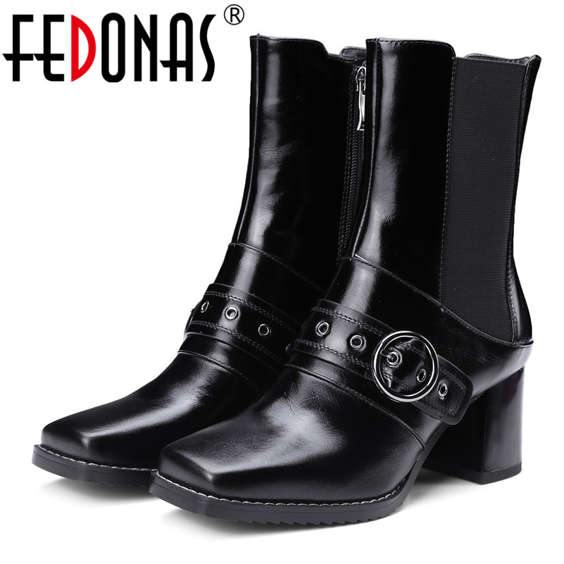 FEDONAS Fashion Women Genuine Leather Shoes High Heeled Mid-calf Autumn Winter Boots Square Toe Black Zipper Shoes Woman genuine leather square toe mid calf boots autumn winter boots warm shoes woman thick high heels shoes for women boots