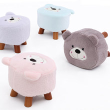 Solid wood Cartoon Creative Fabric Children's tea table stool Household Sofa Shoes stool цены