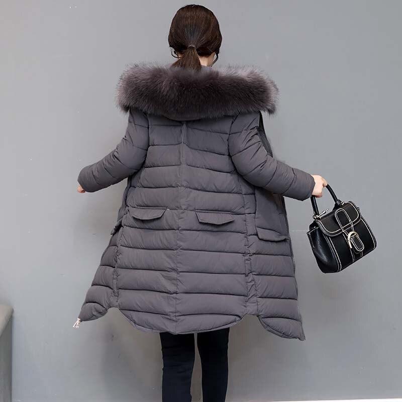 Winter Windbreaker women 's  large pockets jacket fur collar long cotton padded coat hooded cotton jacket lrl lauren active women s plaid pocket windbreaker jacket l turquoise multi