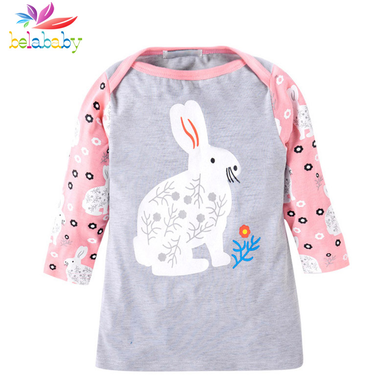 belababy baby dress fashion pure cotton animal pattern summer girl dress long sleeve party clothes