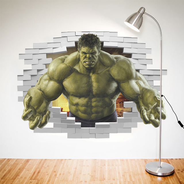 Superheroes Comic Avengers The Incredible HULK Wall Sticker For Kids Room-Free Shipping 3D Wall Stickers For Kids Rooms hulk wall decal