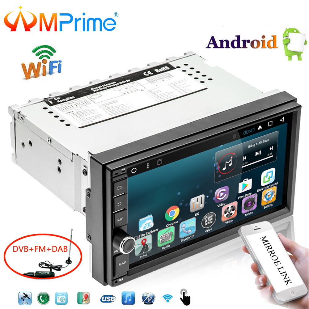 AMPrime 7 Android Car Multimedia Player 1din GPS Navigation WIFI Touch Screen Car Radio DAB+OBD Bluetooth Mirror Link Autoradio oursson mp5015psd ivory