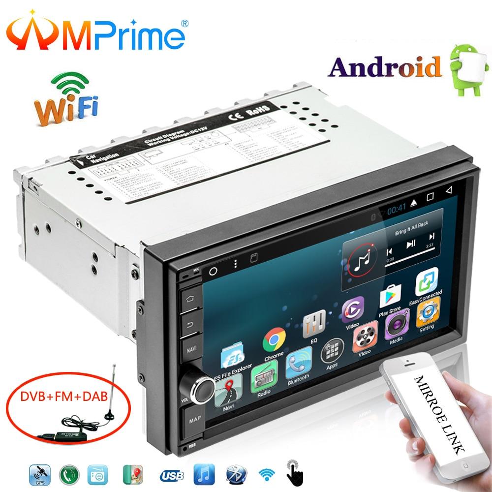 AMPrime 7 Android Car Multimedia Player 1din GPS Navigation WIFI Touch Screen Car Radio DAB+OBD Bluetooth Mirror Link Autoradio texet tm 224 grey