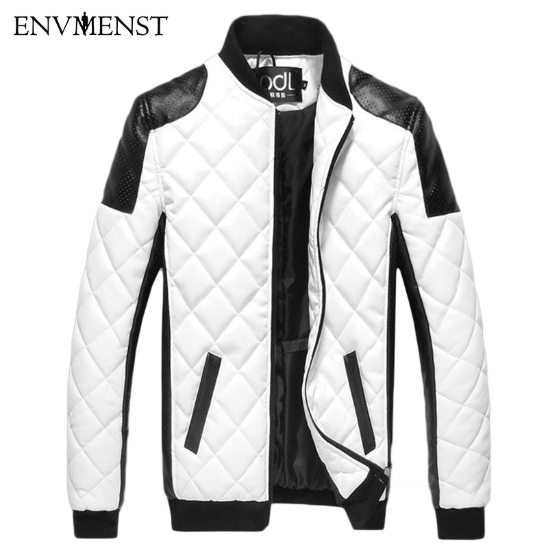 2017 de inverno dos homens de couro design com zíper Casaco Panka homens Magro PU Patchwork Casacos Quentes dos homens de Alta qualidade casaco preto/branco M-5XL