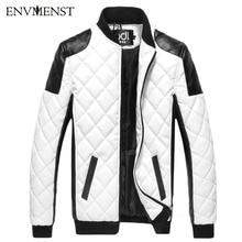 2017 зима для мужчин на молнии дизайн кожа панка пальто тонкий PU лоскутное теплые куртки Высокое качество пальто черный/белый M-5XL