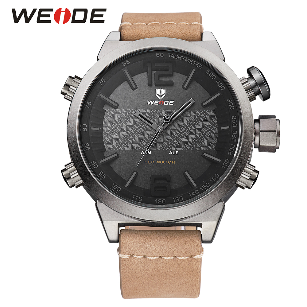 WEIDE Analog Digital LED Dual Time Zone Genuine Khaki Leather Strap Band Date Day Alarm Men Outdoor Quartz Sport Wrist Watch weide men running sports quartz watch black strap dual date day back light analog digital alarm clock military watches