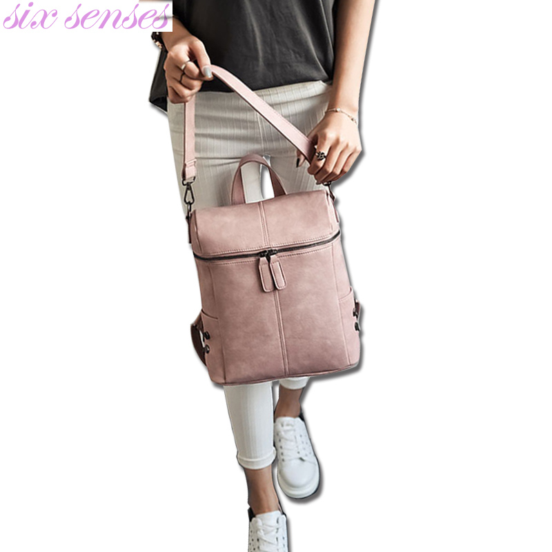 Six senses Backpack Women PU Leather Backpacks For Teenage Girls School Bag Fashion Shoulder Bag casual