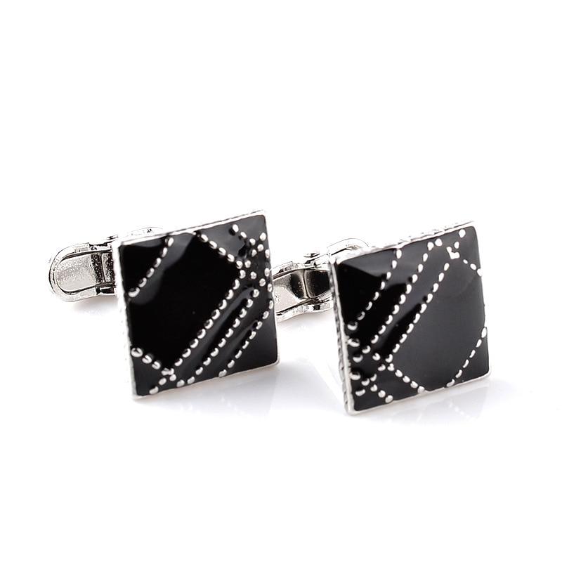 Black square shirt cufflinks for mens luxury brand