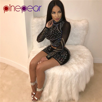 PinePear Turtleneck Night Out Club Mesh Dress Rhinestone Outfits Diamond Long Sleeve Party Sets Sexy Women Short Bodycon Vestido