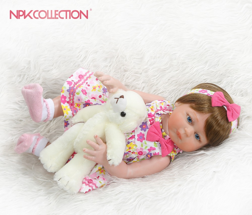 NPKCOLLECTION 48CM bebe doll reborn girl toddler full body silicone Bath toy 100 hand detailed paiting