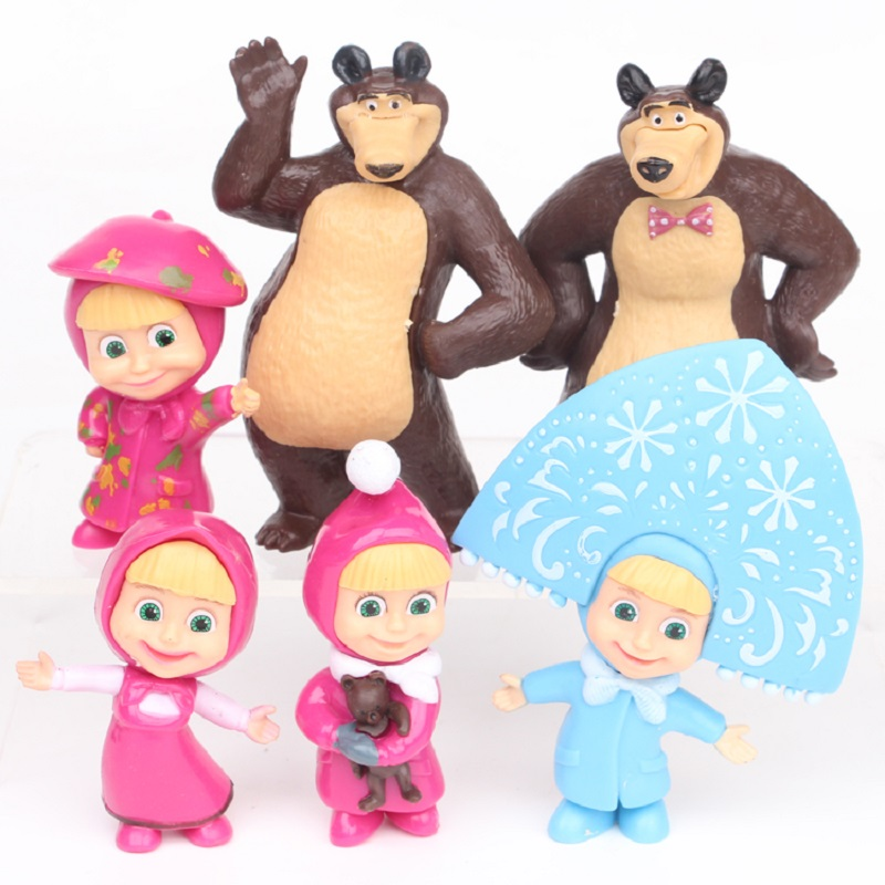 6pcs 8pcs 5-10cm Masha and Bear Dolls Masha and Bear Painter Snow Maiden PVC Action Figures Toys Gifts for Kids Children 8pcs set the octonauts cartoon action figures kids toys captain barnacles medic peso model children birthday gifts with box