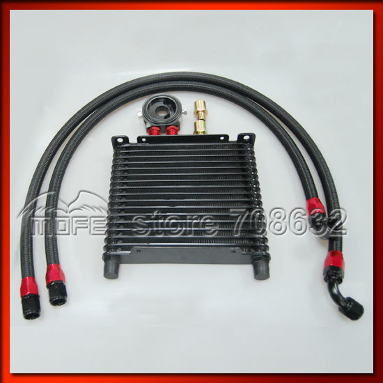 SPECIAL OFFER AN10 16 Row Oil Cooler Kit With Oil Filter Sandwich Adapter + Braided Nylon Stainless Steel Oil Hose Black vr universal 13 rows trust type oil cooler an10 oil sandwich plate adapter with thermostat 2pcs nylon braided hose line