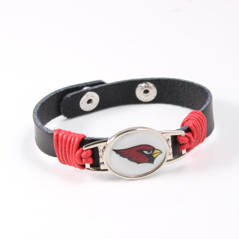 American Football Team Leather Bracelet ARIZONA CARDINALS Charm Bracelets For Men Women Football Fans Jewelry