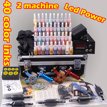 Professional complete tattoo kit tattoo machine liner and shader 2 top tattoo gun 24 color inks YLT-58