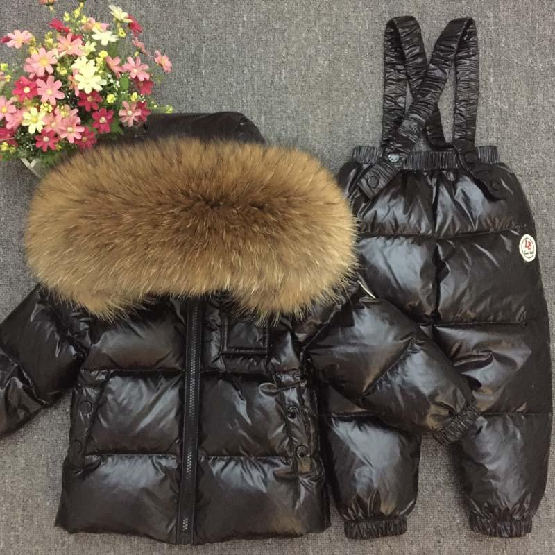 Пуховик для русской зимы, супер теплые детские зимние костюмы, куртка пуховик для мальчиков и девочек + комбинезон, комплект одежды из 2 пред
