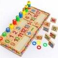 Materiais Montessori Brinquedos educativos Dominó Crianças Preschool Placa de Contagem e Empilhamento De Madeira Matemática Ensinando Brinquedo W123