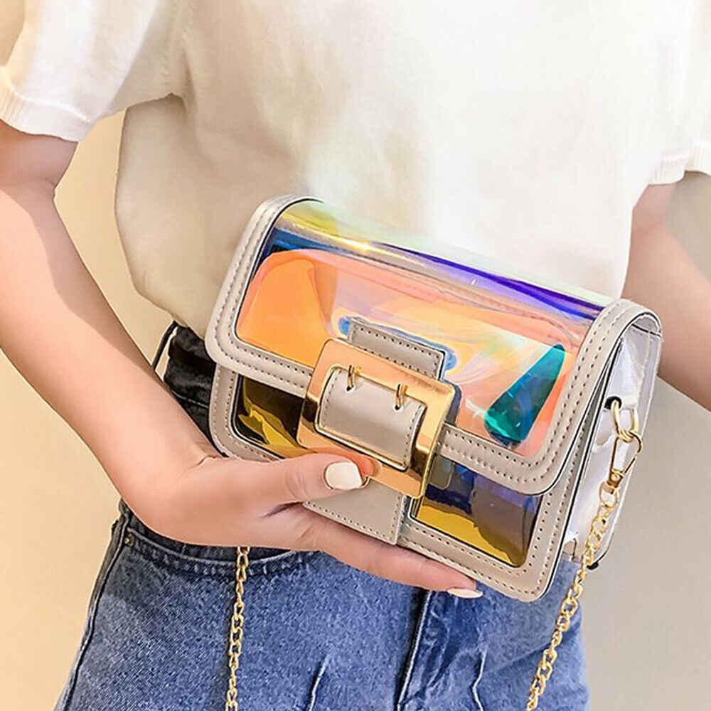 2019 Terbaru Wanita Crossbody Messenger Bahu Tas Kasual Transparan Luar Pantai Kecil Ponsel Mini Rantai Emas Hoki Laser Tas