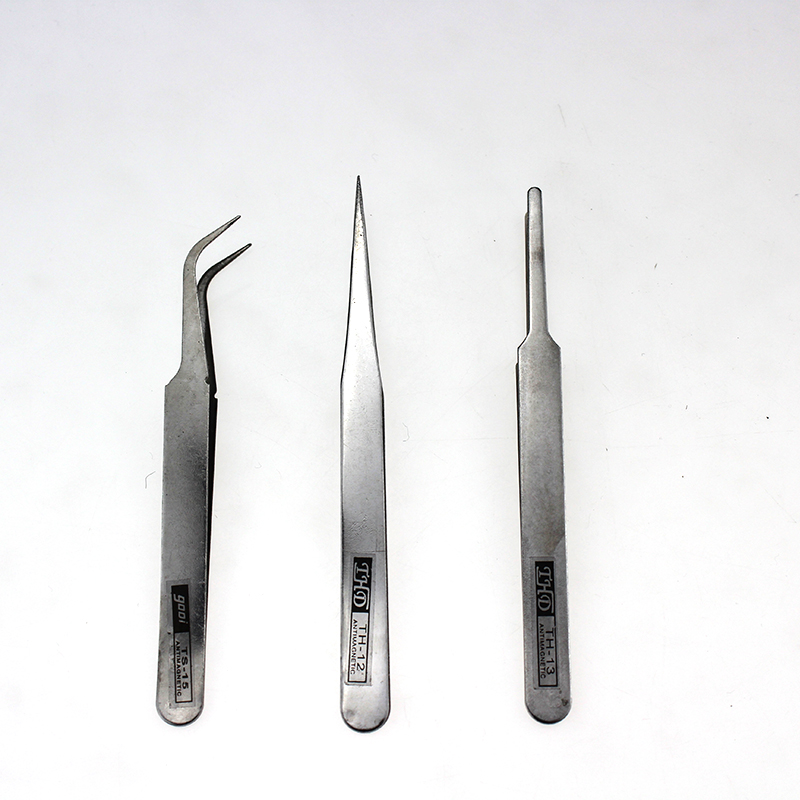 THD 3pcs Medical Instruments Stainless Steel Industrial Anti-static Round head Medical Tweezers First Aid Kit Accessories