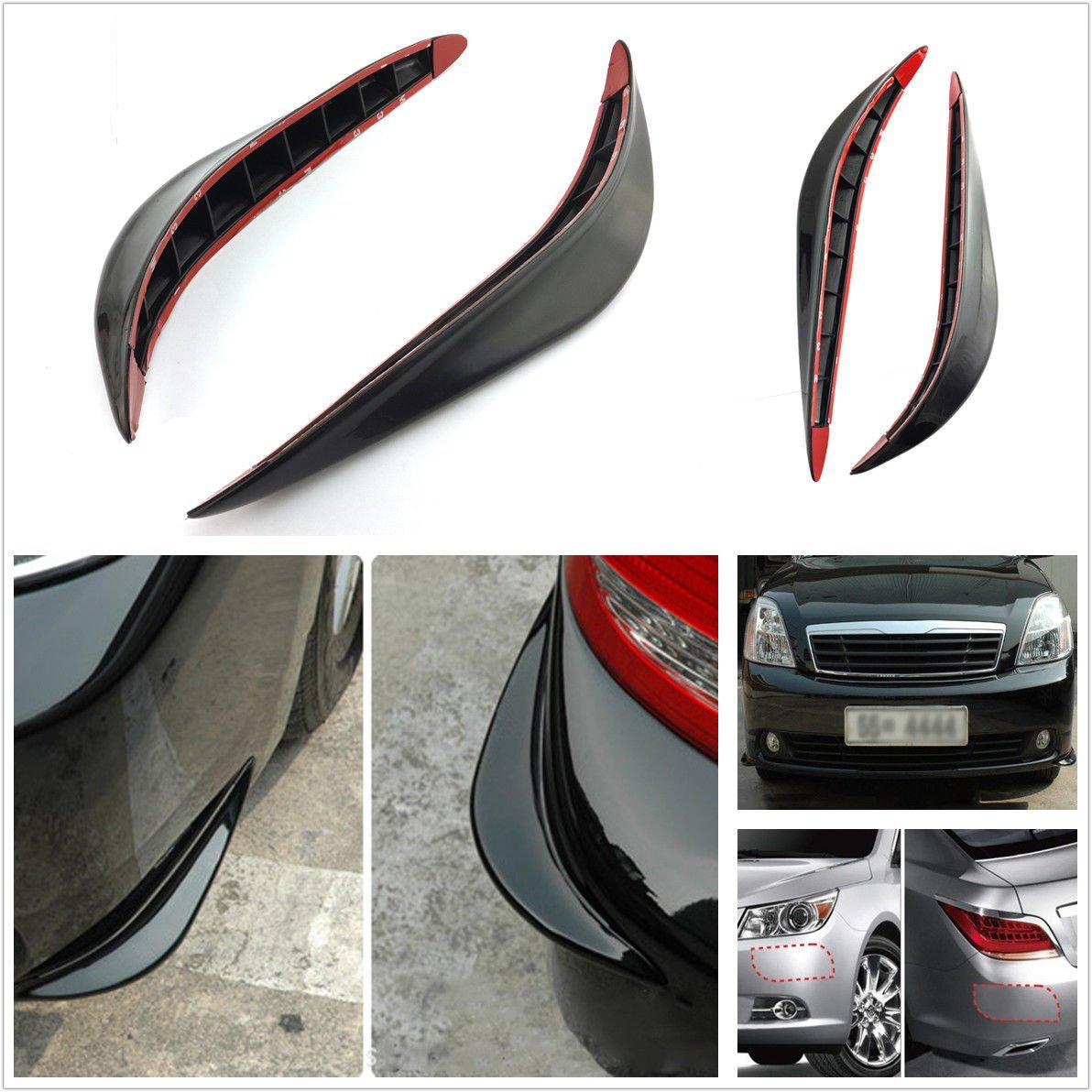2x Universal Car Carbon Fiber Anti-rub Protector Bars Body Corner Bumper Guard Z