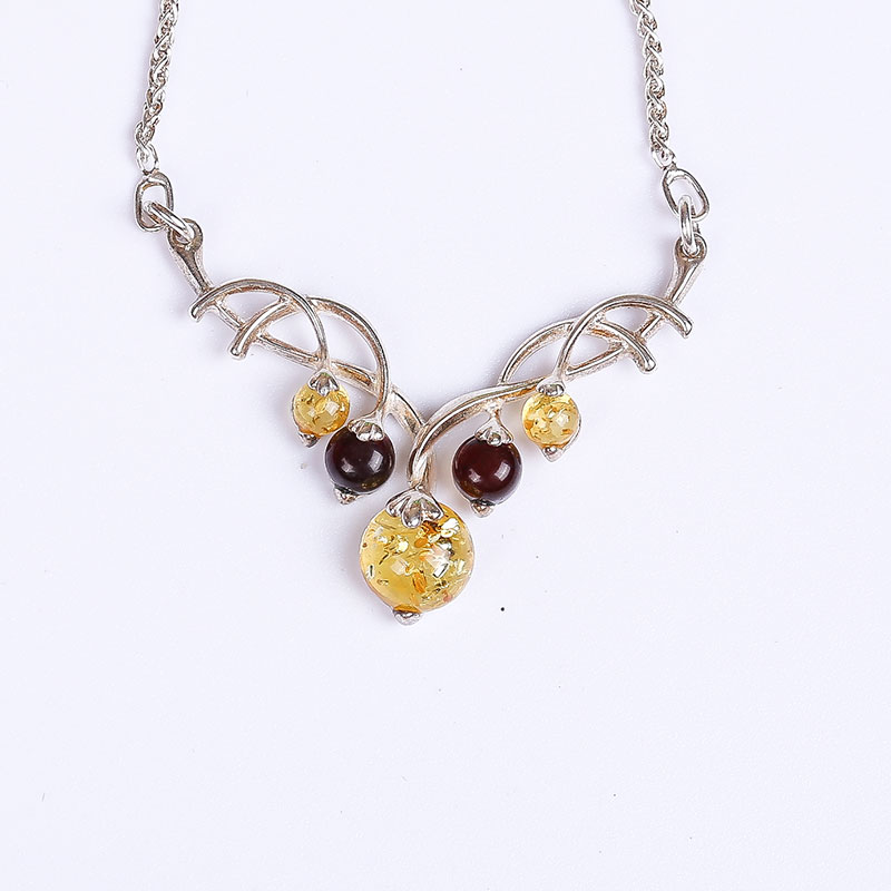 100%amber pendant genuine fashion female 925 sterling silver mosaic distribution water droplets clavicle necklace factory direct недорго, оригинальная цена