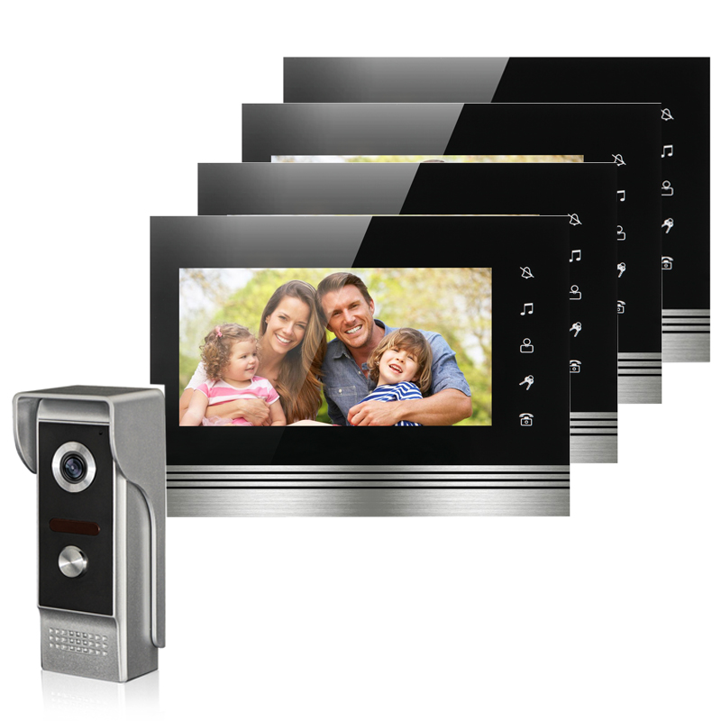 7'' TFT-LCD Video Door Phone Intercom Doorbell System 4 Monitor Screens With One IR COMS Outdoor Camera Video Door Bell On Sale 7 inch video doorbell tft lcd hd screen wired video doorphone for villa one monitor with one metal outdoor unit rfid card panel
