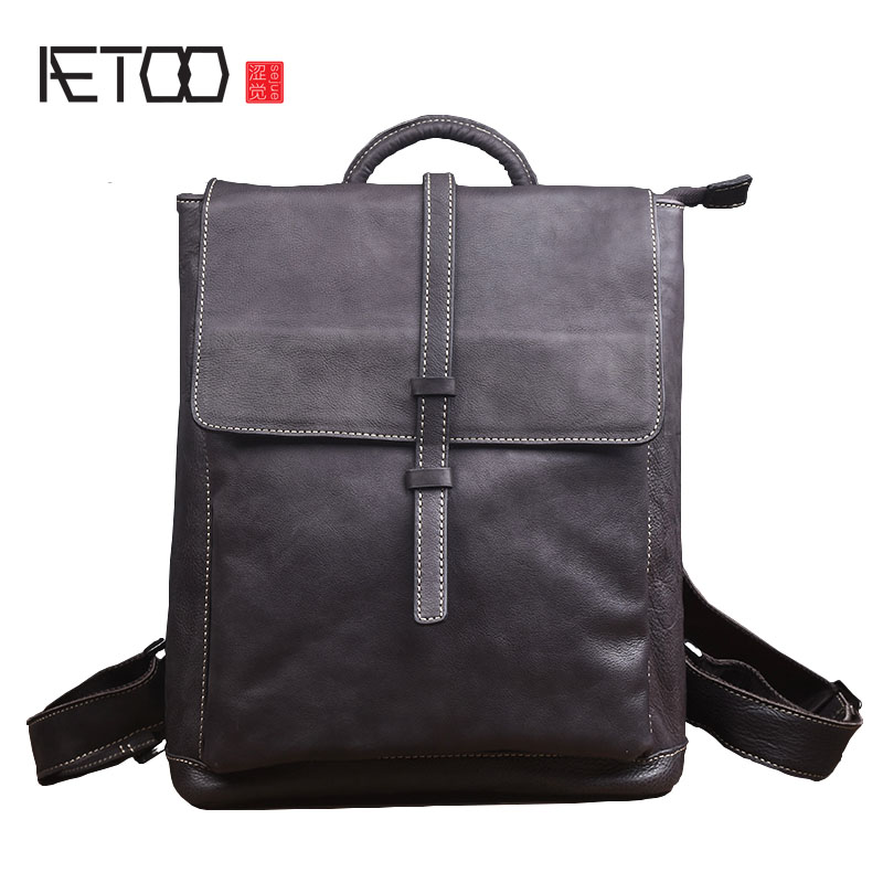 AETOO 2018 New retro leather shoulder bag fashion trend leather bag leisure travel bag men's backpack Korean version aetoo retro leatherbackpack bag male backpack fashion trend new leather travel bag