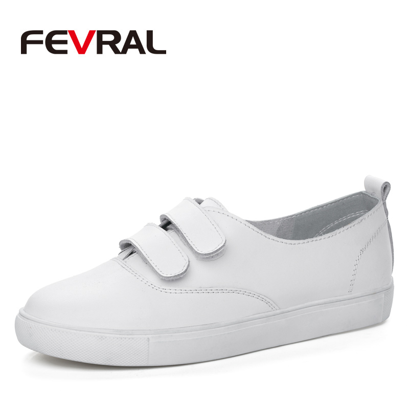FEVRAL Brand New Fashion Woman Sneakers Slip on Genuine Leather Casual Flats Shoes Leather Solid Sole Female Lazy Shoes Ladies vesonal brand faux fur women shoes flats 2017 winter warm velvet female fashion ladies woman sneakers casual footwear tsj 189