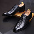 Mens casual office party discoteca vestidos de punto transpirable zapatos de cuero suave de grano del cocodrilo oxfords zapato toe zapatos adolescentes