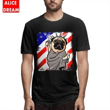 Men Independence Day Pug T-shirt Hipster T Shirt Cotton S-6XL Plus Size Camiseta