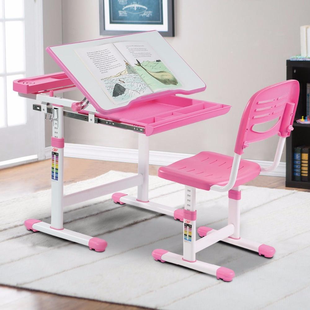 Giantex Height Adjustable Children's Desk Chair Set Multifunctional Study Drawing Pink Modern Children's Furniture Set HW58130PI