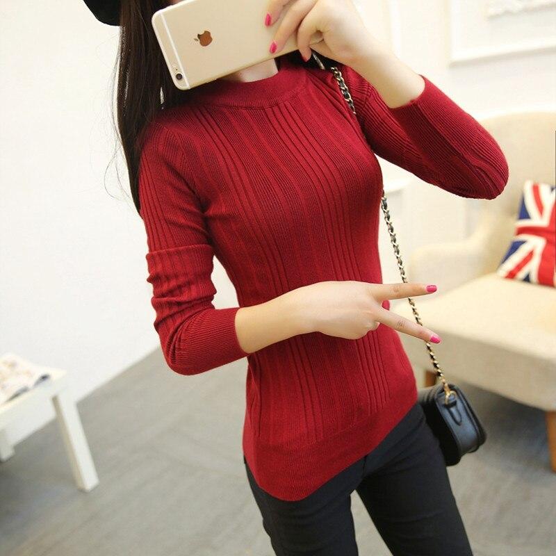 2017 new Korean autumn ladies sweater slim sleeve head long sleeved turtleneck sweater slim female half bottoming shirt