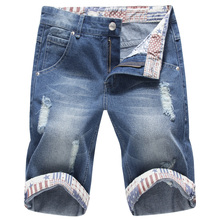 Men's Denim Shorts Blue Fashion Shorts Pencil Jeans High Quality Slim Casual Five Minutes Pant Hole Large Size Lace Curled Pants