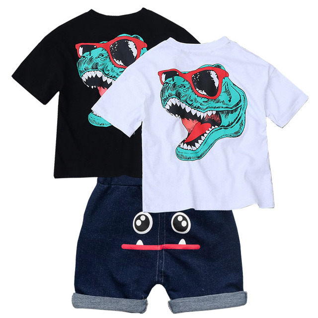 child Summer dinosaur Clothing Sets for  Baby Boy Infant Outerwear Clothes Suit 2 T-shirt+1 Pant 3 piece set baby Boy clothing