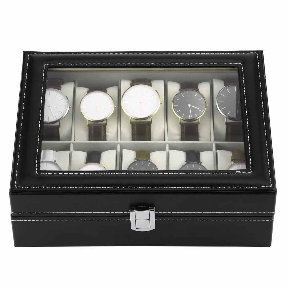 10 חריצי עור מפוצל שחור שעון תיבת מקרה תכשיטי תצוגת אחסון ארגונית מחזיק אריזת אוסף ארון Caja de לגברים
