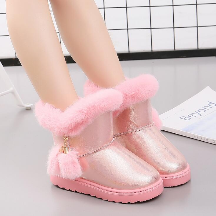KKABBYII Toddler Snow Boots For Girls Winter Shoes Casual Shoe Girls Princess Boots 2018 Kids Warm Boot Plush Children Velvet