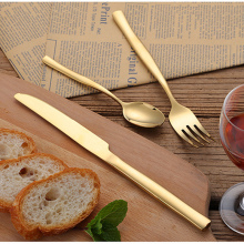 KuBac 24Pcs High Grade Cutlery Gold Stainless Steel Food Silverware Dinnerware Utensil Kitchen Tableware Knives Forks Weddinng