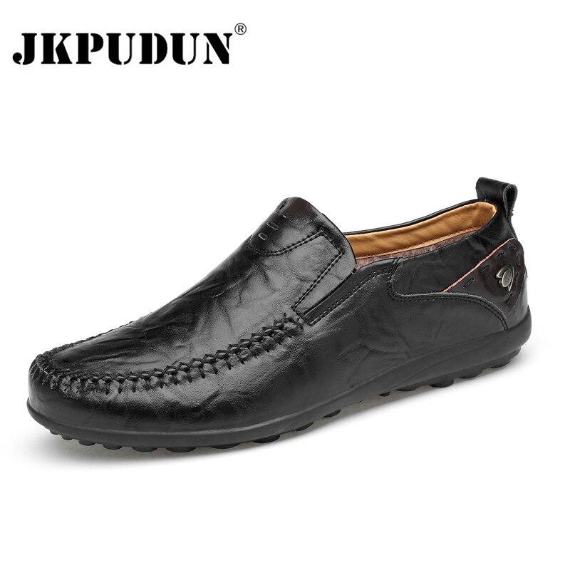 JKPUDUN Handmade Homens Couro Genuíno Sapatos Casuais Marca De Luxo 2018 Homens Preguiçosos Mocassins Inverno Deslizamento em Sapatos Pretos Formais
