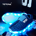 Eur25-37// usb charging breathable children basket led sneakers shoes kids with lighted up luminous shoes for girls&boys