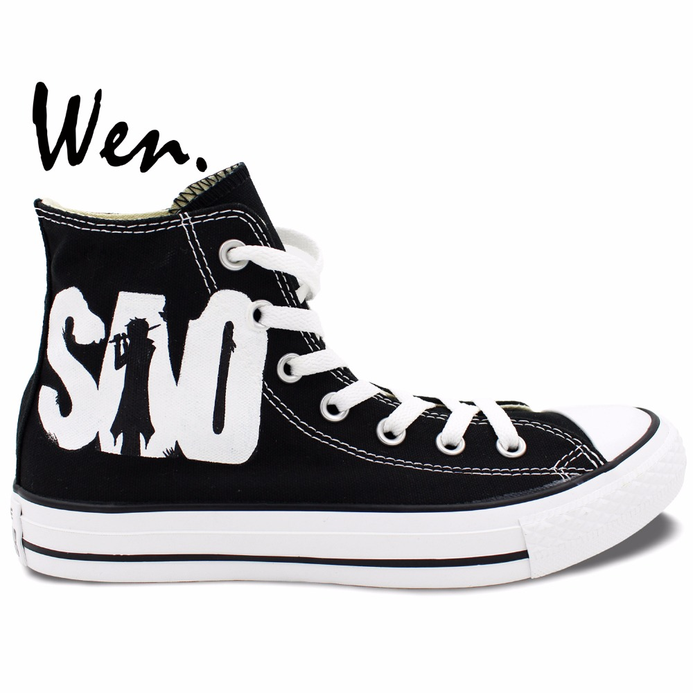Wen Black Hand Painted Casual Shoes Custom Design SAO Sword Art Online Men  Women s Anime High Top Canvas Shoes Christmas Gifts 8715f42d8db7