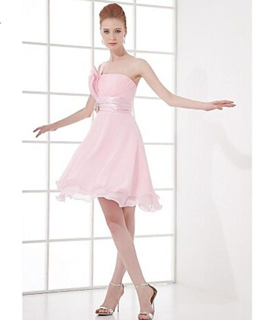 Knee-length Chiffon  Cocktail Dress - Blushing Pink A-line One Shoulder Party Dress