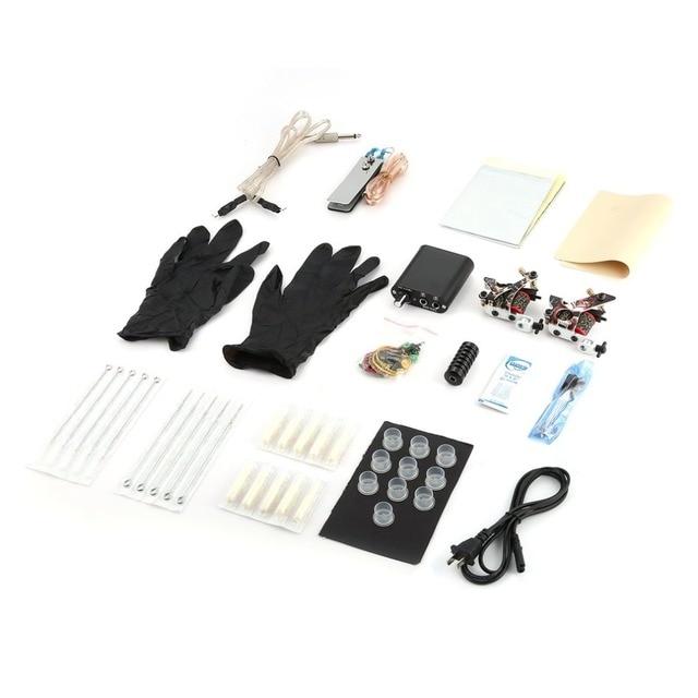 Complete Beginner Tattoo Kit 2 Pro Machine Inks Power Supply Needle ...