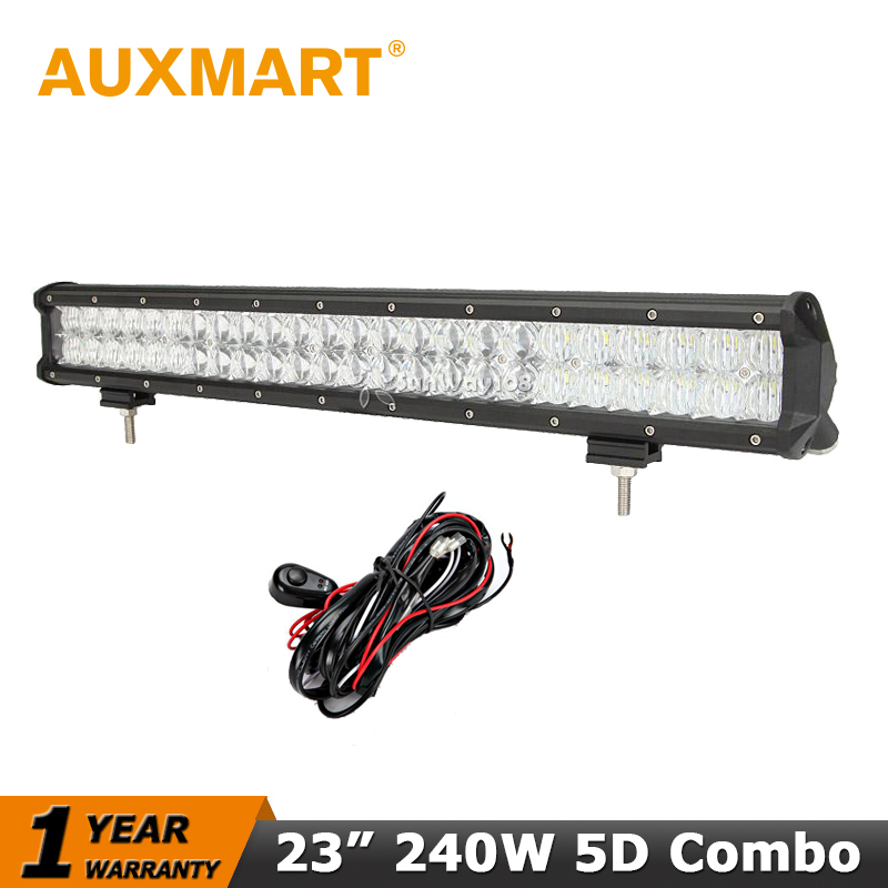 Auxmart 5D 23 inch LED font b Light b font Bar CREE Chips 240W LED Work