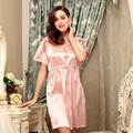 Silk Nightgown Big Yards Waist Was Thin Women Sleeping Night Dress Summer New V-neck Lace Short Sleeve Nightgown Three Color