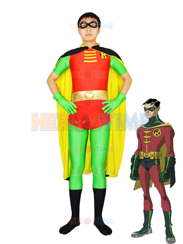 Custom Made Robin Cosplay Costume Cool Spandex Robin Superhero zentai Costume with Cape all size Available free shipping