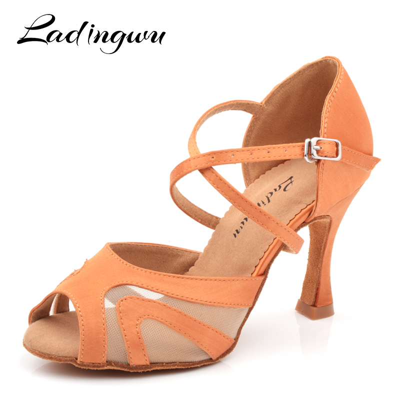 Ladingwu Factory Direct Sales Dance Shoes Latin Women Satin And Net Salsa Shoes Dancing Woman Brown Dance Sandals Ultra Low Pric