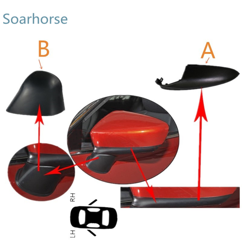 Soarhorse Car Side Door Rearview Mirror Lower Covers Wing Mirror Shell Housing Cap For Mazda 6 Atenza