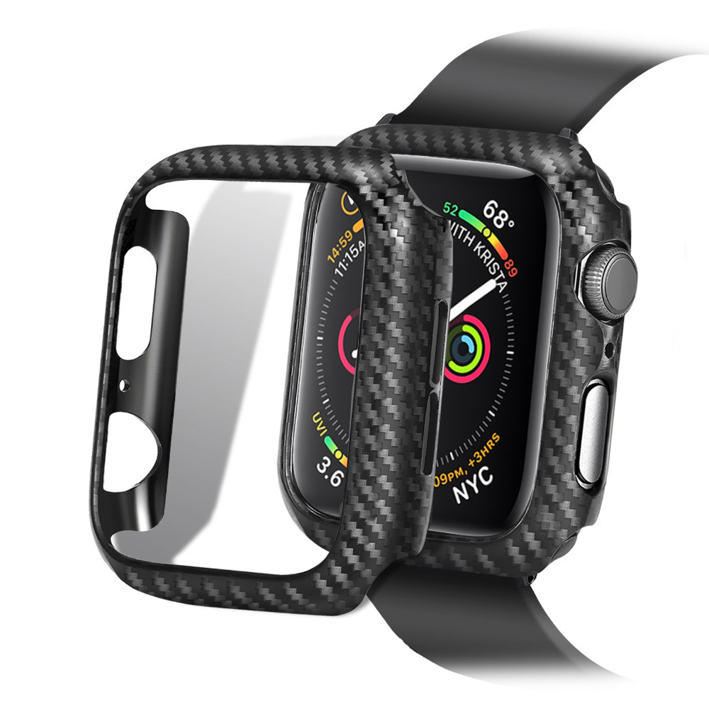 Bumper case For Apple Watch 4 44mm/40mm iWatch 3/2/1 42mm/38mm Case cover Carbon fiber Protective cover Apple watch Accessories