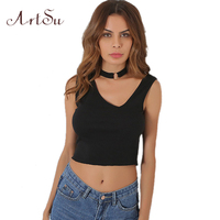 ArtSu Halter Crop Tops Sleeveless Punk Rock Sexy Tank Top Women Irregular Backless Black Camisole Short